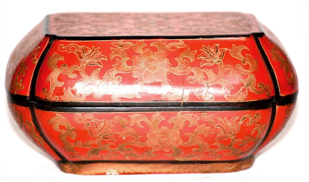 Chinese Incised Red Lacquer Covered Box