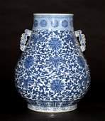 Massive Chinese Qing Blue White Porcelain Vase