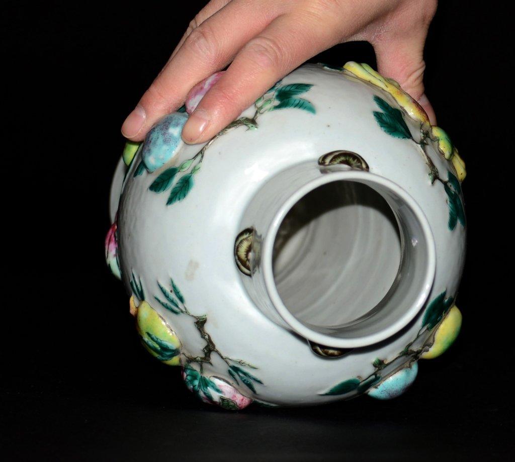 Chinese Moriage Peach Porcelain Vase - 3