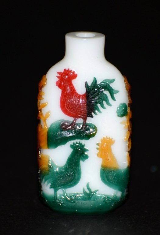 Chinese Multicolor Overlay Pek. Glass Snuff Bottle