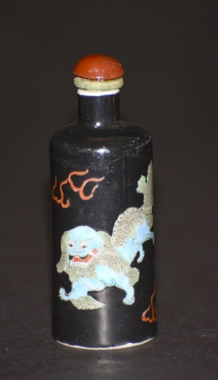 Chinese Famille Noir Porcelain Snuff Bottle