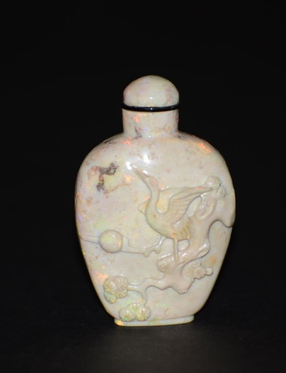 Chinese Carved Opal Snuff Bottle
