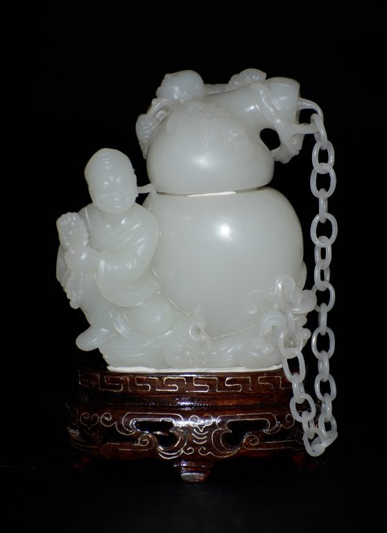 Chinese White Jade Figural Vase Group
