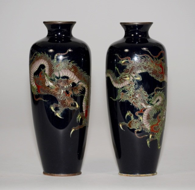 Pair Japanese Silver Wire Cloisonne Vase
