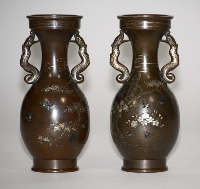 Pair Japanese Mixed Metal Vases
