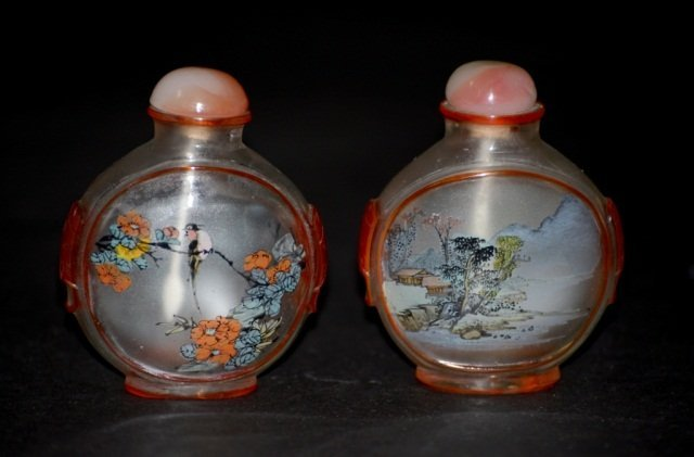 Pair Chinese Glass Snuff Bottle