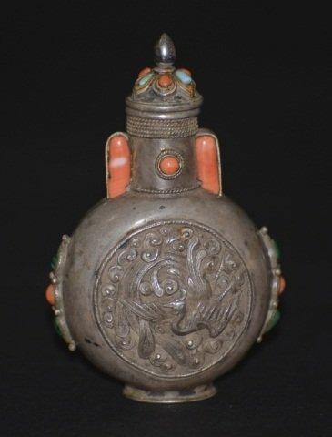 Chinese Mongolia Silver Snuff Bottle