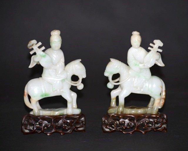 Pair Chinese Carved Jadeite Figurines