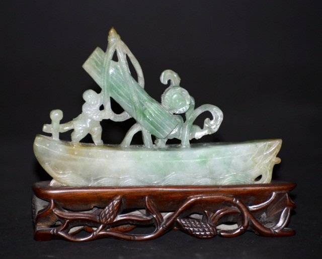 Chinese Carved Jadeite Boy Sailing Boat