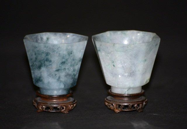 Pair Chinese Jadeite Wine Cups