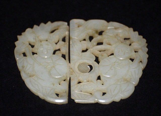 Chinese Celadon Jade Belt Buckle