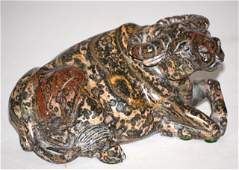 Chinese Carved Hardstone Reclining Ox