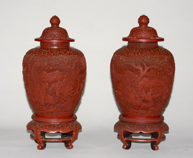 Pr Chinese Carved Cinnabar Lacquer Jars
