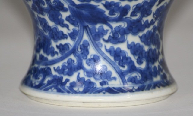 Chinese Kangxi blue White Porcelain Yen Yen Vase - 5