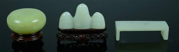 Group of Three Chinese Jade Scholar Objects