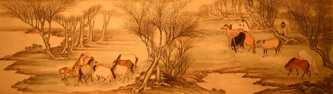 Chinese Hundred Horse Scroll Painting