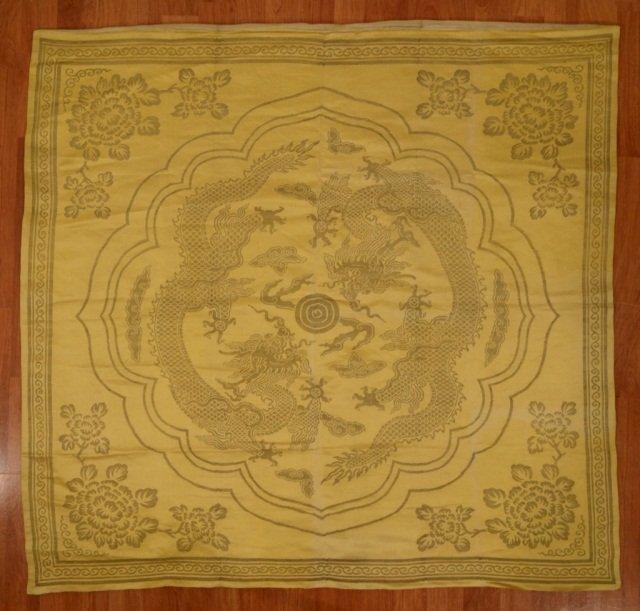 Chinese Yellow Dragon Silk Brocade Seat Cover