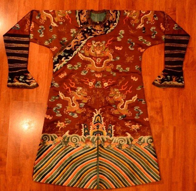 Chinese Burgundy Dragon Robe