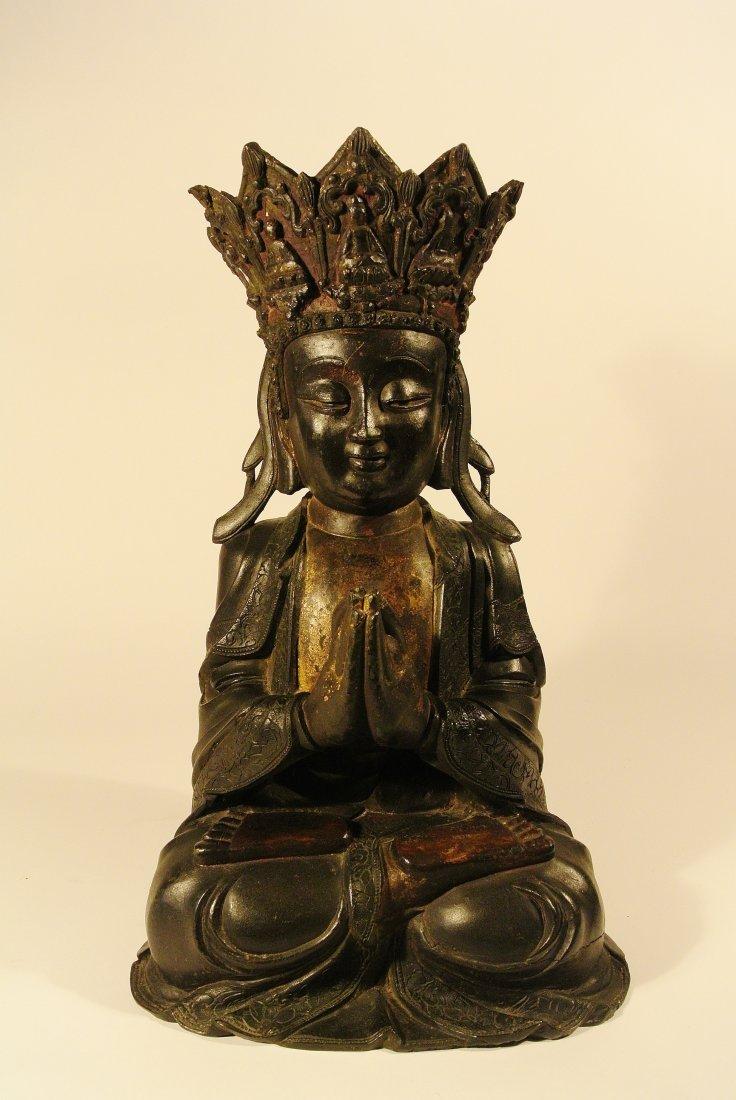 Large Chinese Ming Bronze Seated Buddha