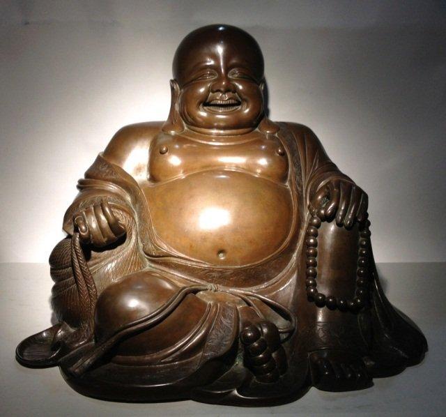 Large Chinese Bronze Happe Buddha