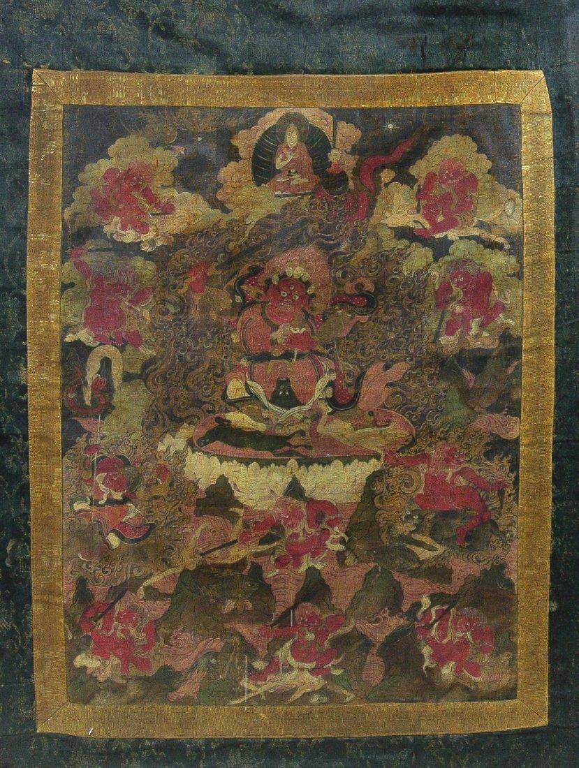 17/18th cen Tibetan Thangka of Guardian