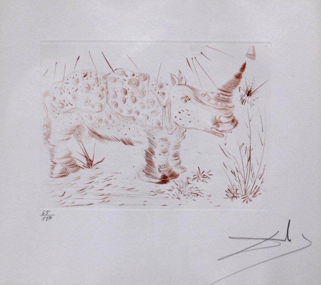 Salvador Dali (1904-1989) Signed Rhinoceres engraving
