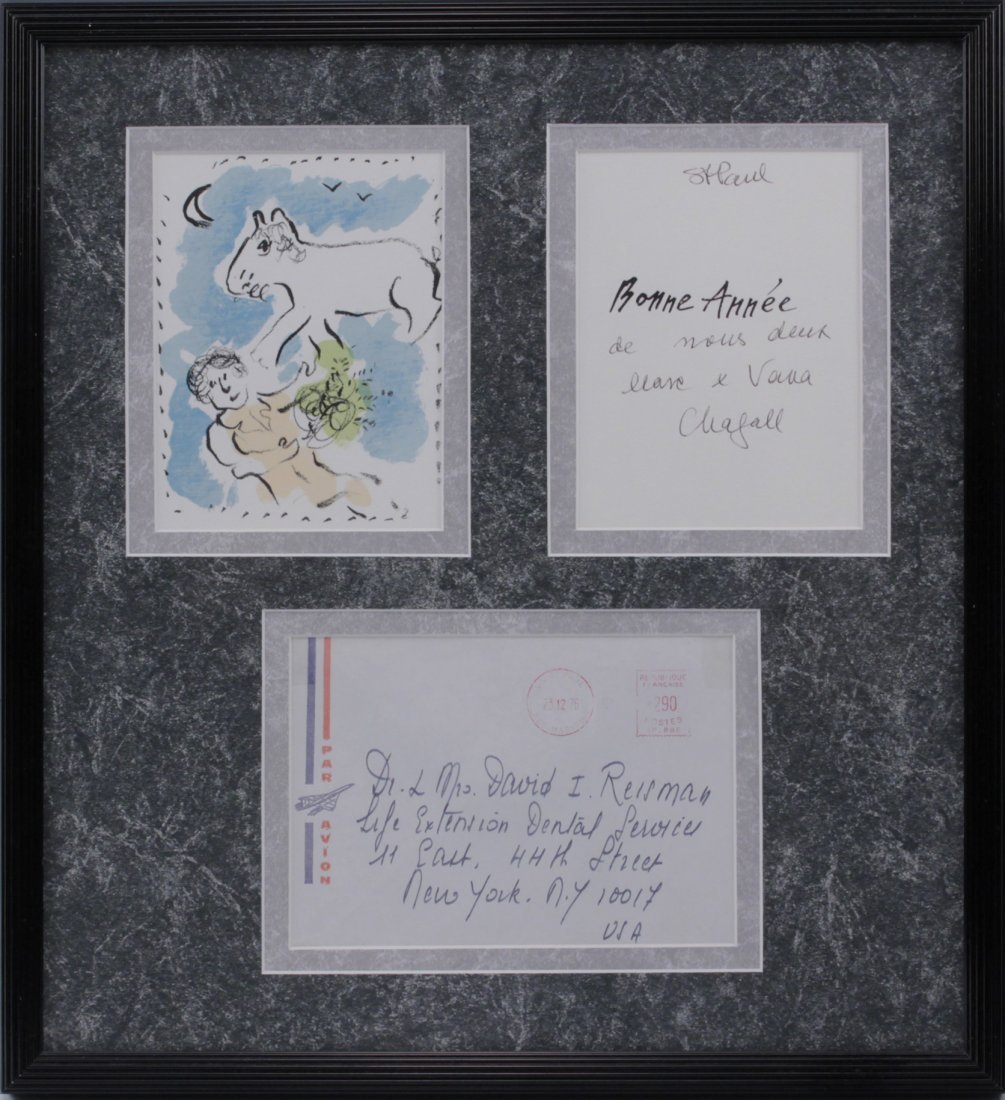 Marc Chagall (1887-1985) Signed Card Lithograph