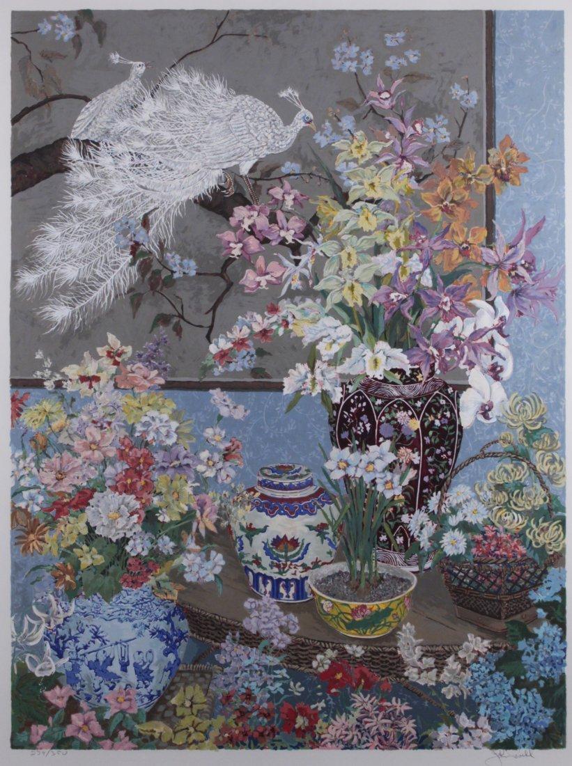 John Powell (B 1930) American Serigraph C 1981 Peacock