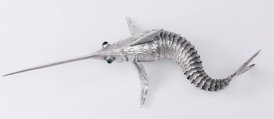 Sterling Silver Articulated Swordfish with Jade Eyes - 3