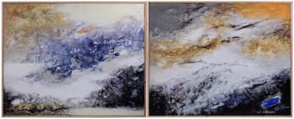 Marc Baumann (B 1921) Fr Pair Large Abstract Paintings