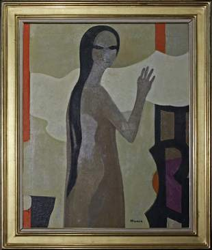 Andre Minaux (1923-1986) French Expressionist O/C Femme