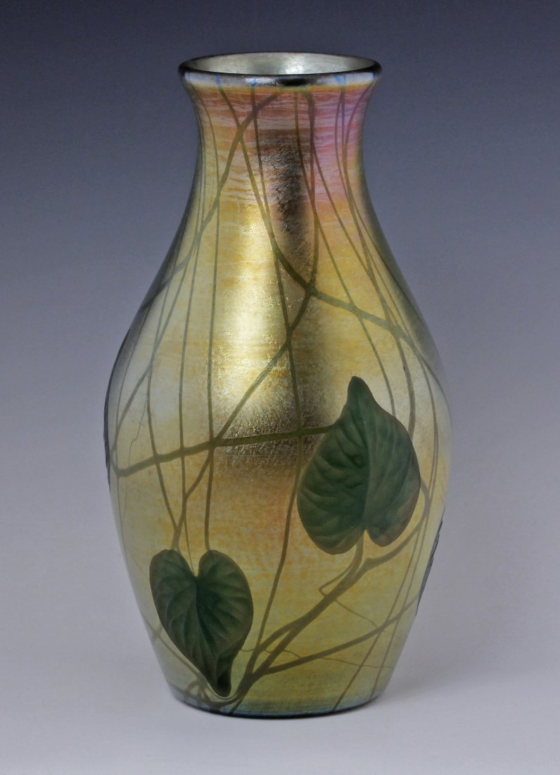 Tiffany Favrile Art Glass Vase Gold Opalescent w Leaves
