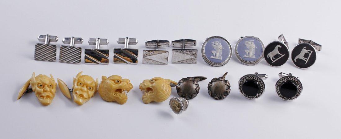 9 Prs Sterling Bone Cameo Cufflinks + Tie Tack