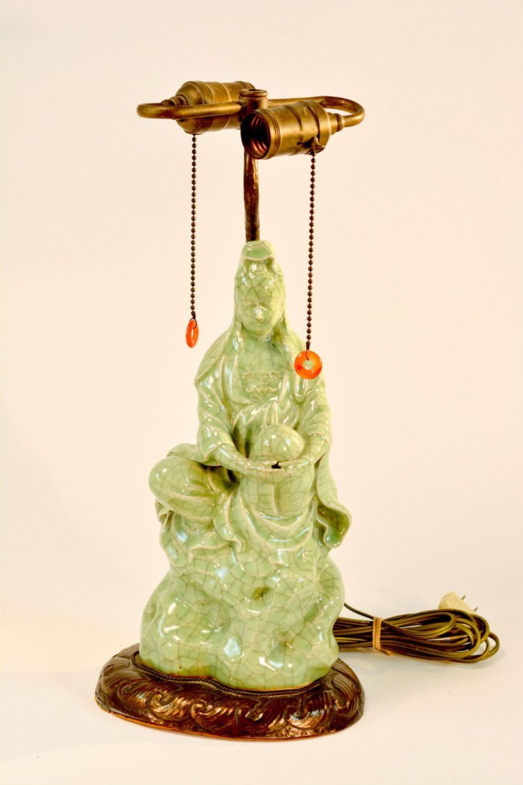 Chinese Ge Crackle Porcelain Figural Lamp