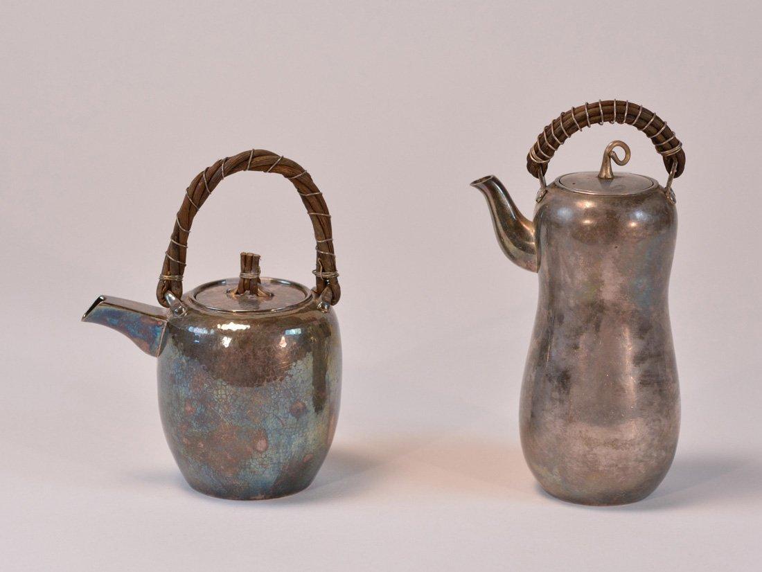 Two Japanese Silver Sake Ewer