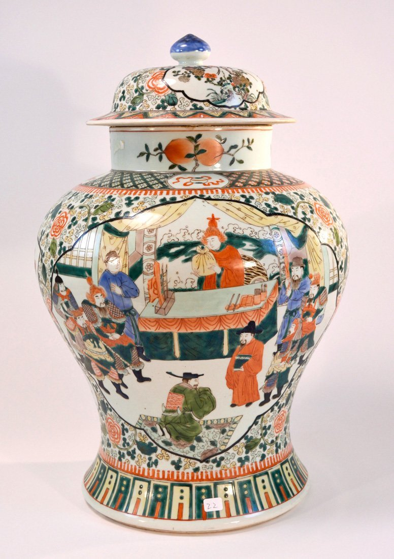 Large Chinese Famille Verte Porcelain Jar