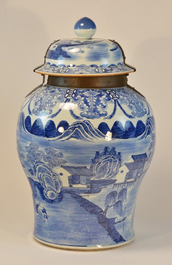 Massive Chinese Blue White Porcelain Jar