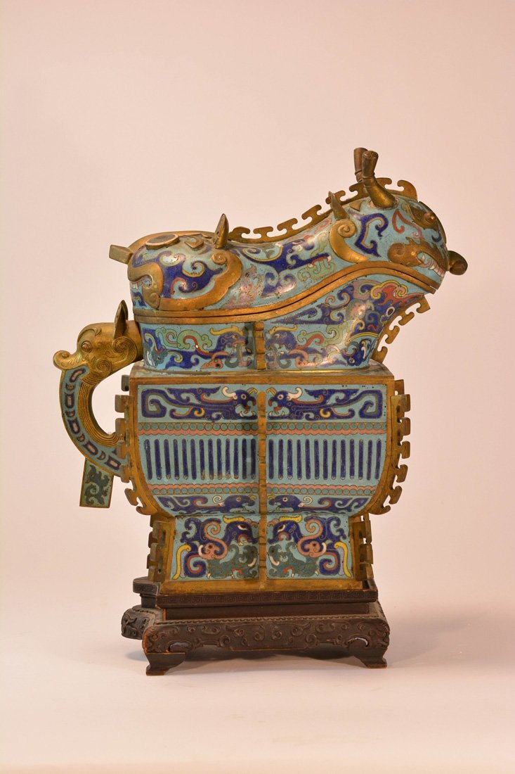 Fine Chinese Cloisonne Vessel in Archaic Shape