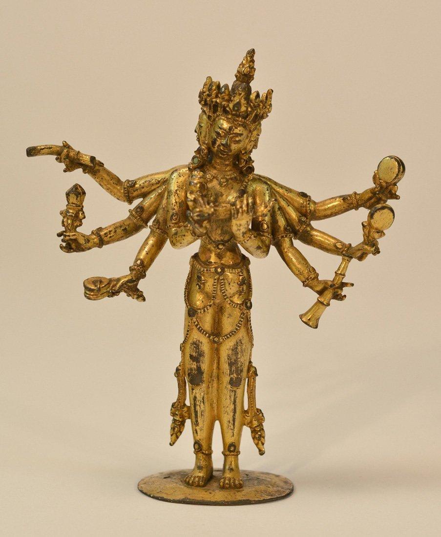 Sino Tibetan Bronze Standing Kuanyin