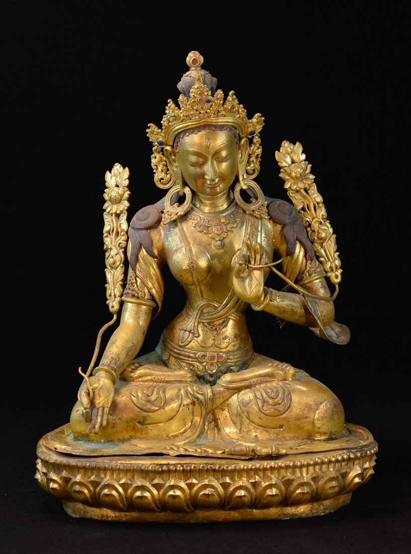 Nepalese Gilt Copper Figurine of Tara