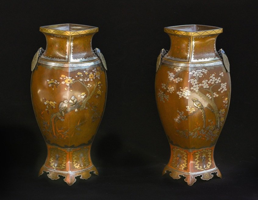 Important Pair of Japanese Mixed Metal Vases