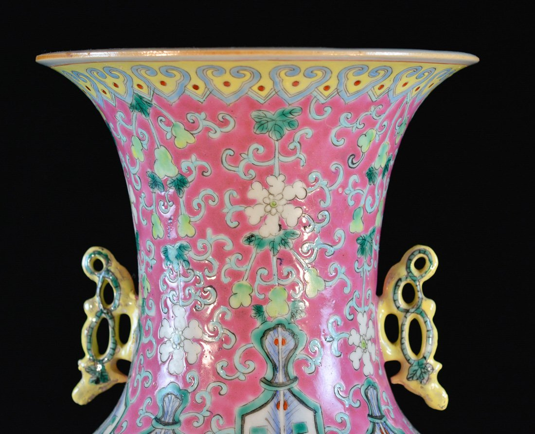 Large Chinese Famille Rose Porcelain Vase - 5