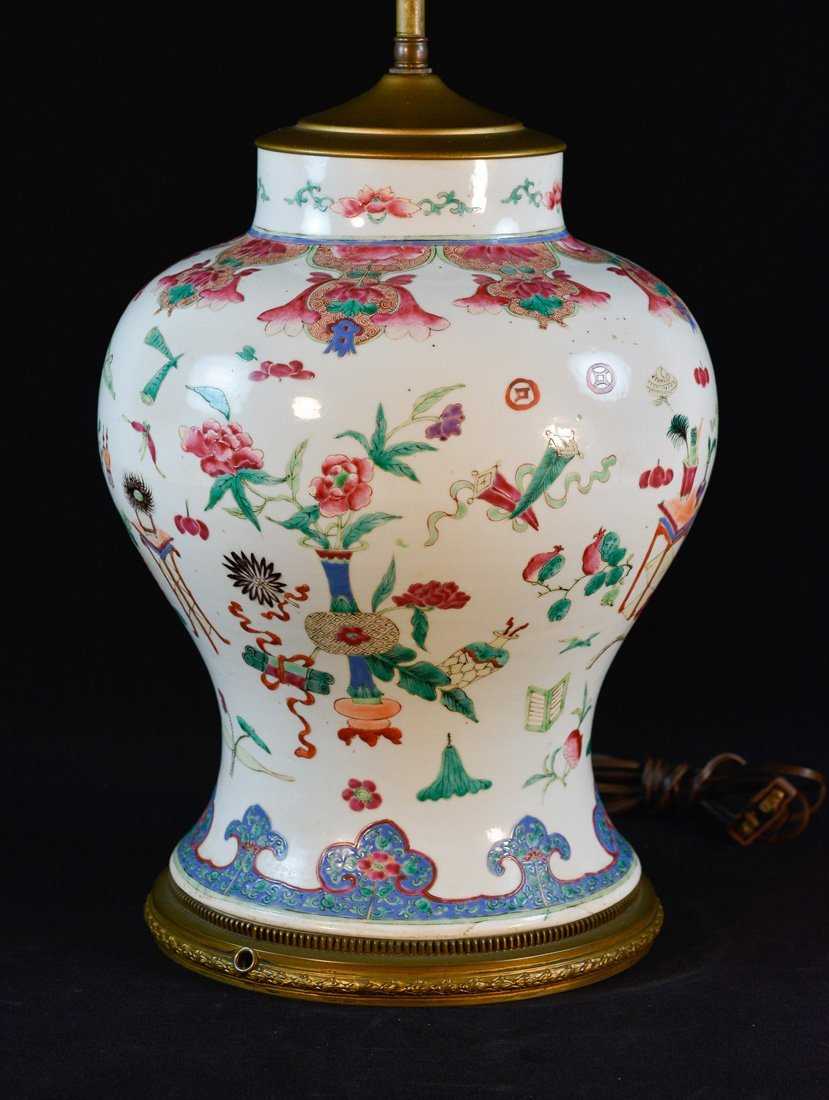 Chinese Famille Rose Blauster Vase with Old Mount
