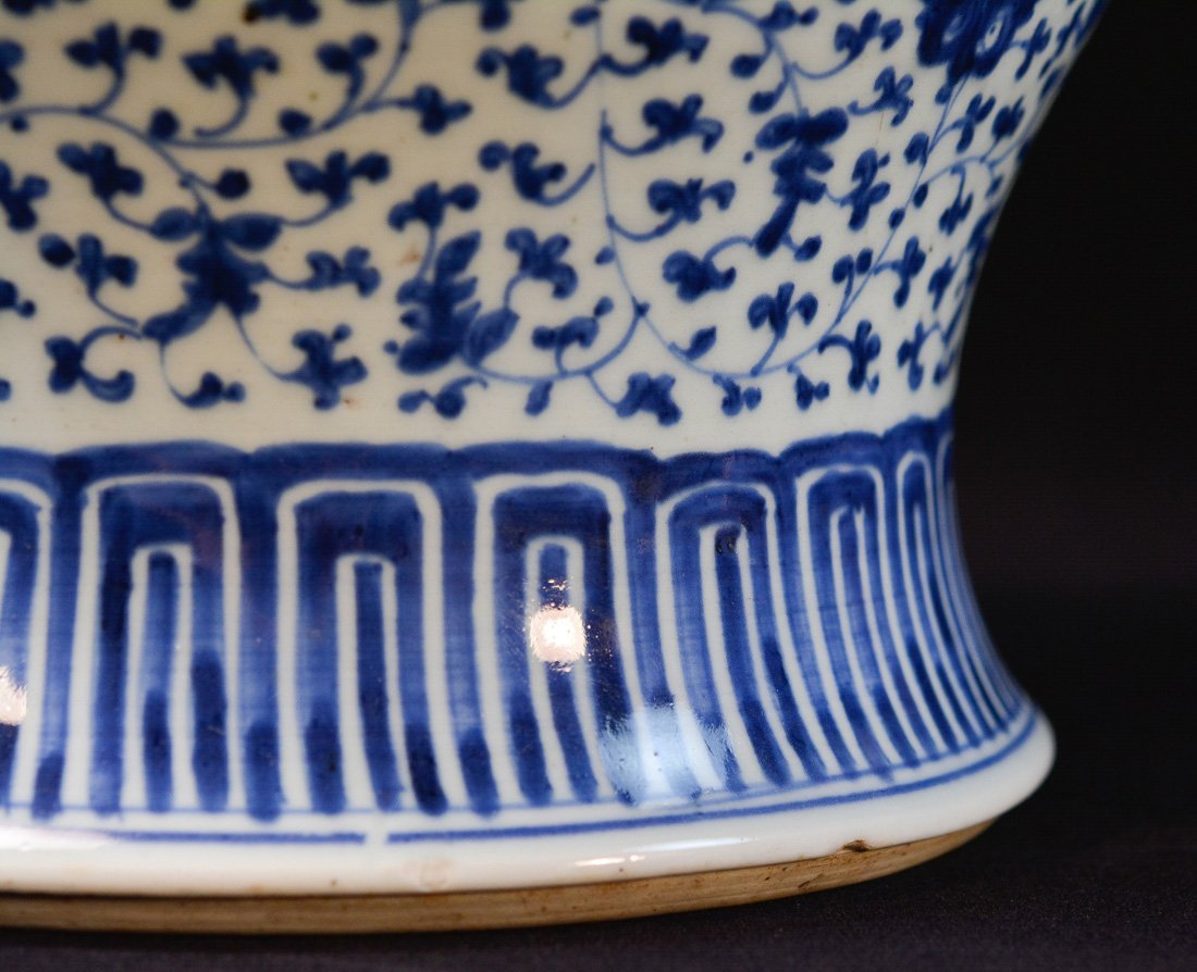 Chinese Blue White Porcelain Blauster Jar with Wood - 4