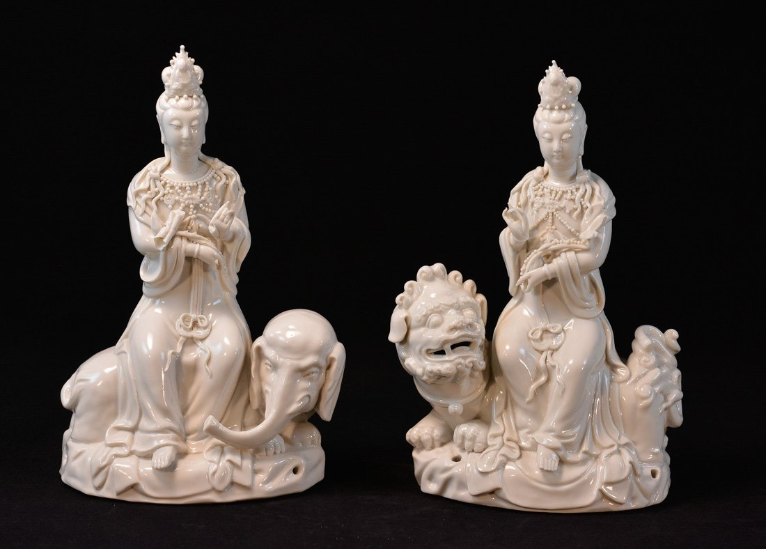 Pair Chinese Blanc de Chine Porcelain Kuanyin on