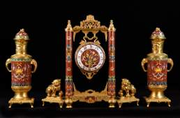 Important Three Piece Set French Cloisonne and Gilt