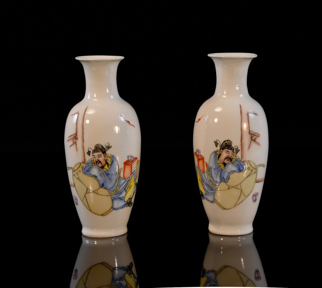 Pair Chinese Porcelain Vases with Figural Scene