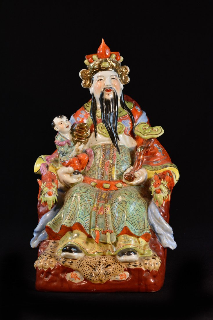 Chinese Seated Porcelain Officer - God of Wealth
