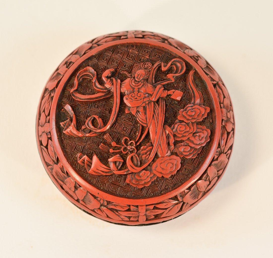 Chinese Cinnebar Scholar Seal Paste Box