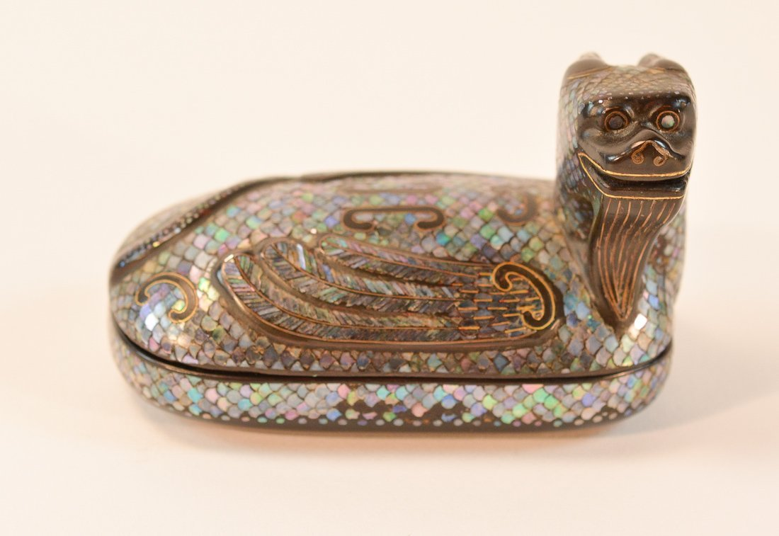 Chinese Lacquer Dragon Turtle Box with Mother of Pearl